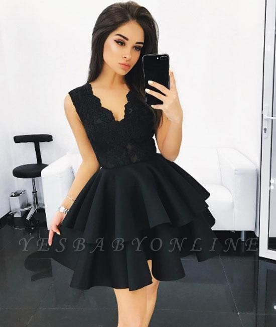 V-Neck Lace Layers Elegant A-line Sleeveless Homecoming Dresses