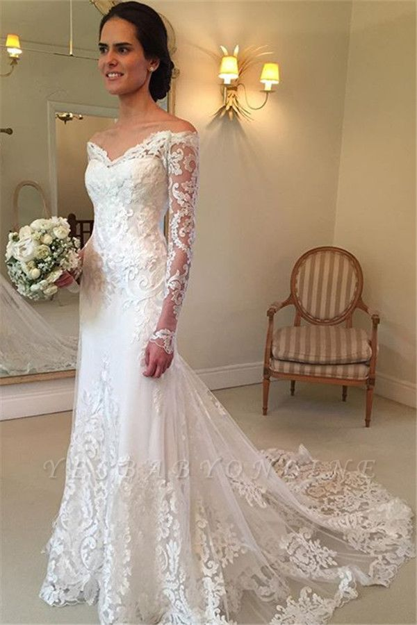 Glamorous Off-the-Shoulder Long Sleeves Lace Mermaid Wedding Dresses