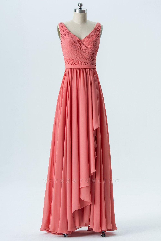 A Line Chiffon Hi-Lo V-Neck Sleeveless Bridesmaid Dresses with Ruffles