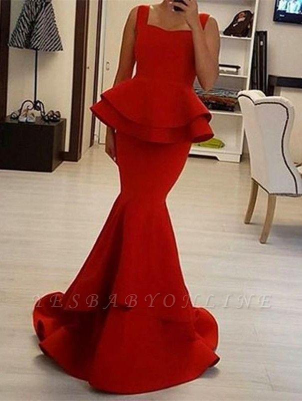 Chic Red Mermaid Prom Dresses Peplum Ruffles Square Neck Sleeveless Evening Gowns
