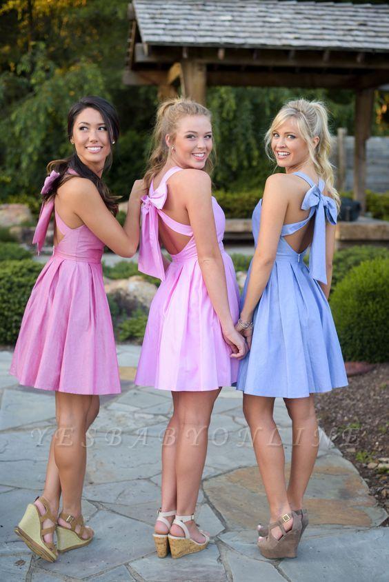 Blue Cheap Short Bow Back Halter Cross Bridesmaid Dresses