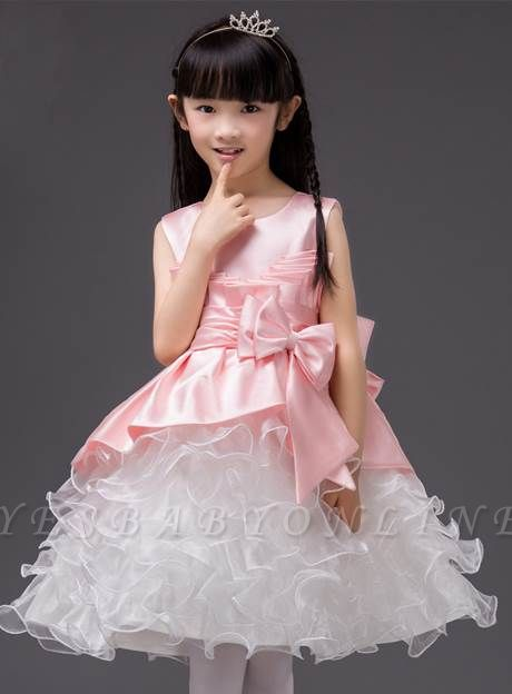 Cute A-Line Organza Scoop Bowknot Knee-Length Flower Girl Dress