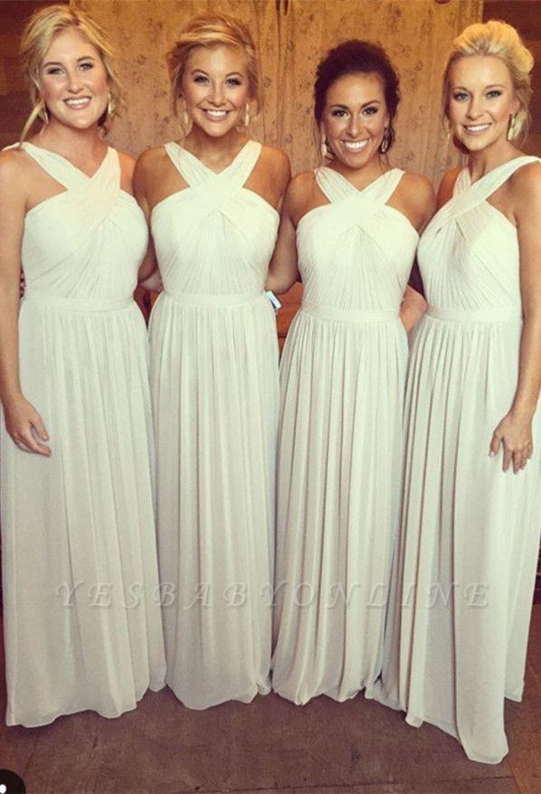 Elegant A-line Sleeveless Cross 2019 Chiffon Long Bridesmaid Dresses