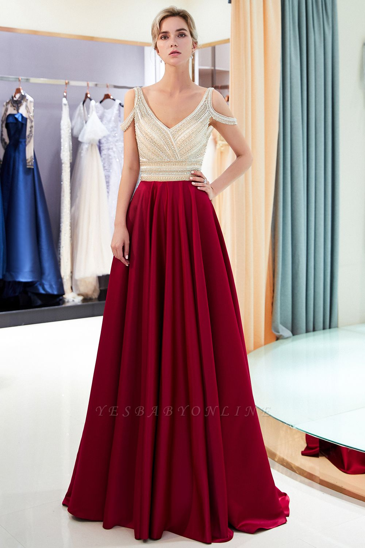 A-Line Burgundy V-Neck Sleeveless Prom Dress | 2019 Sexy Crystal Open Back Evening Dress