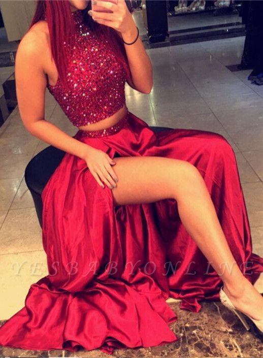 Red Two Pieces Prom Dresses, High Neck Slit Sexy Evening Gowns