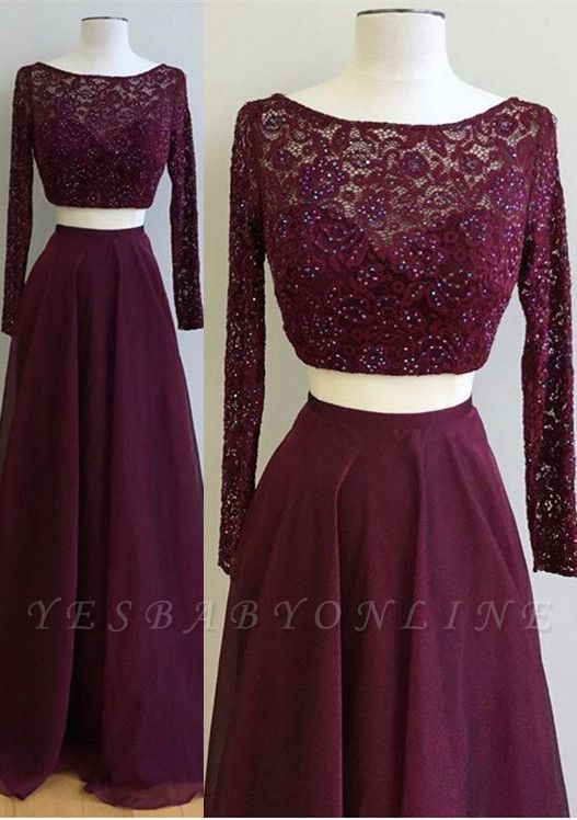 2019 Two-Piece Prom Dresses Maroon Long Sleeves Lace Beading A-line Evening Gowns