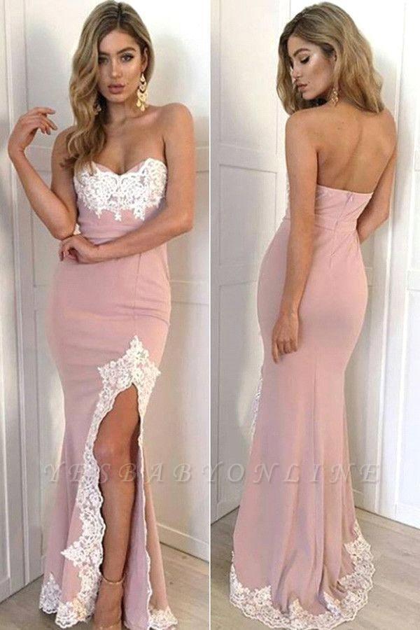 Appliques Long Split Lace Mermaid Sweetheart Gorgeous Prom Dress
