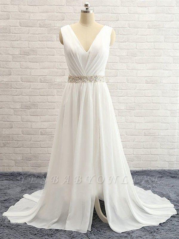A-line Chiffon Beading Wedding Dress   V-Neck Ruffles Long Bridal Dress