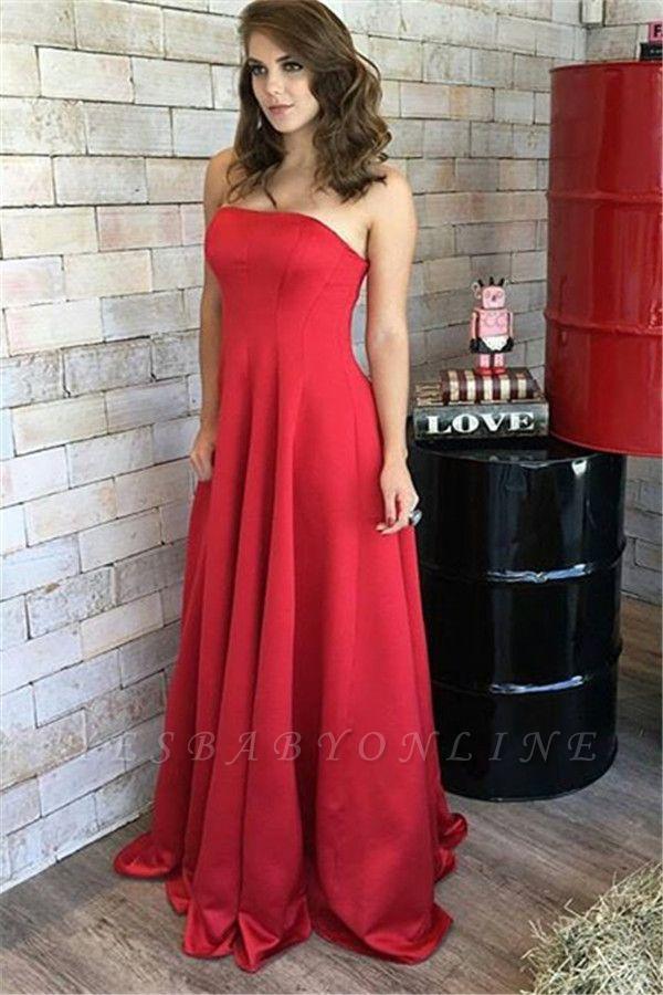 Natural Long Strapless Red Sleeveless Elegant Prom Dresses