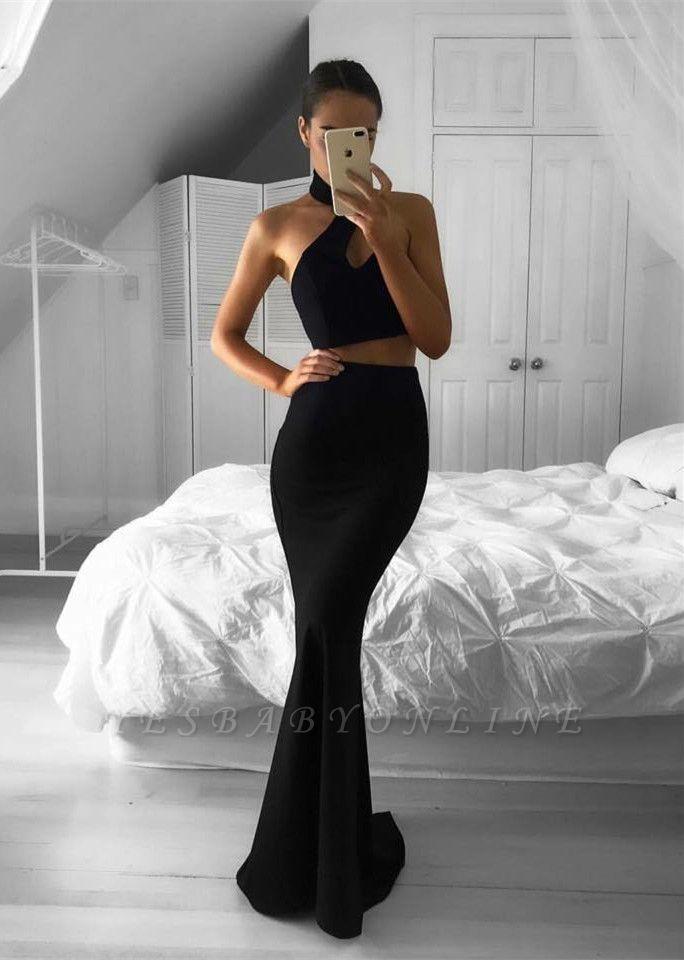 Two-Piece Black Mermaid Sleeveless Halter Newest Prom Dress