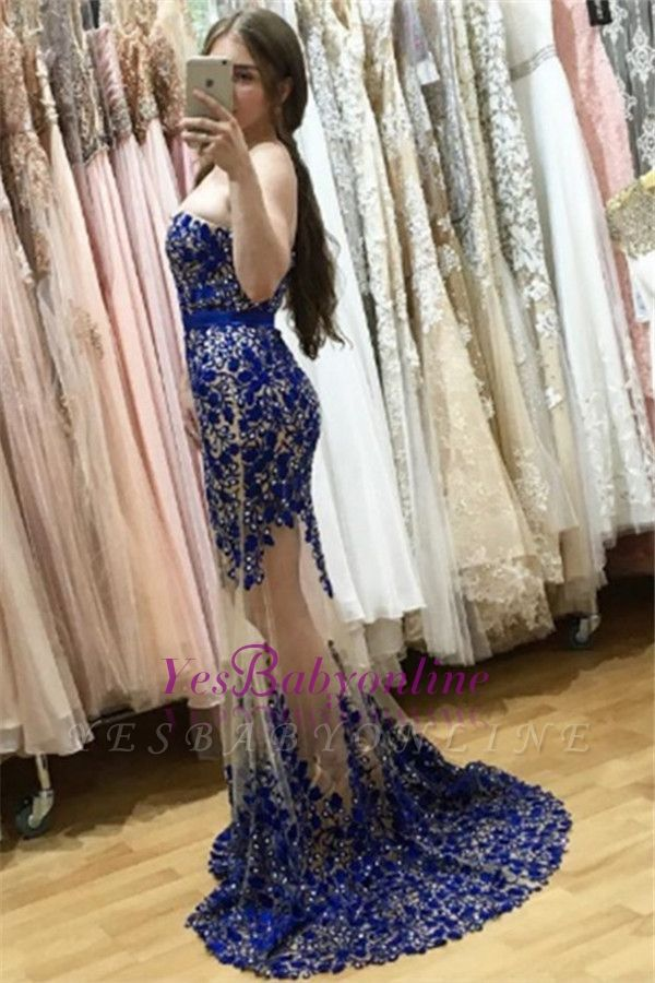 Sweetheart Lace-appliques Sweep-Train Sexy Mermaid Sleeveless Prom Dress