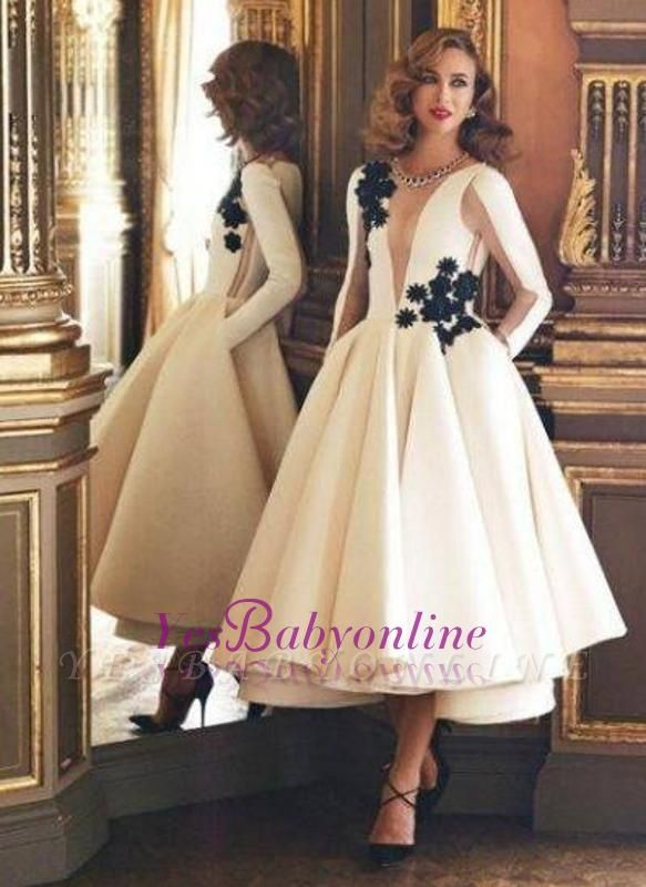 Pockets Puffy Vintage Deep-V-Neck Long Sheer Long-Sleeves Ruffles Evening Dresses