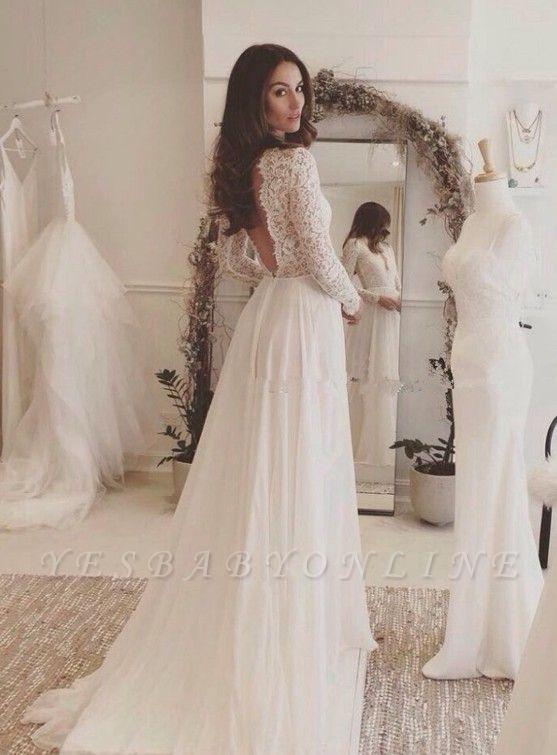 Chiffon V-neck Long Sleevess Sexy Lace Wedding Dress