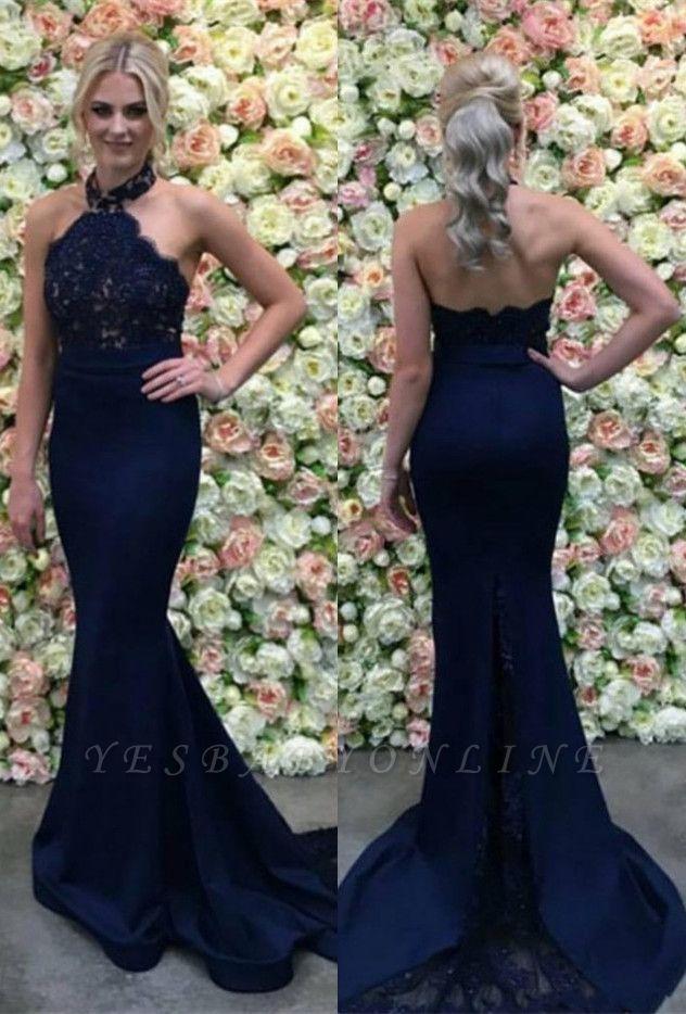 Halter Appliques Gorgeous Lace Long Navy Mermaid Evening Dress