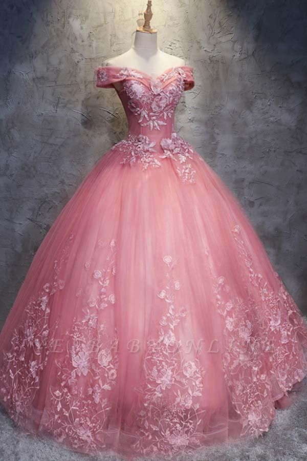 Ball Gown Sweet 16 Dresses   Off-the-Shoulder Appliques Quinceanera Dress