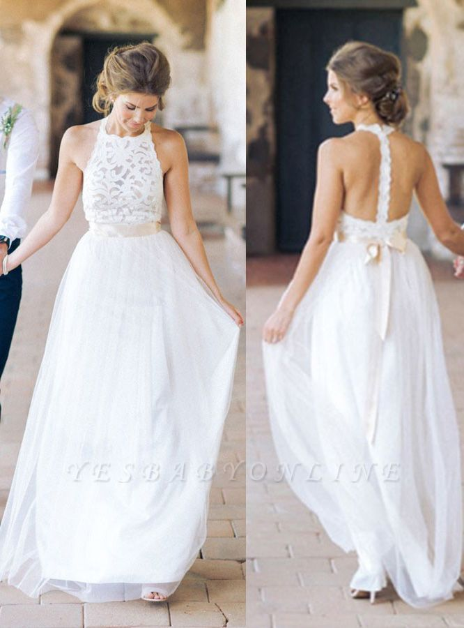 White Floor-length Halter A-line Simple Lace Sashes Wedding Dress