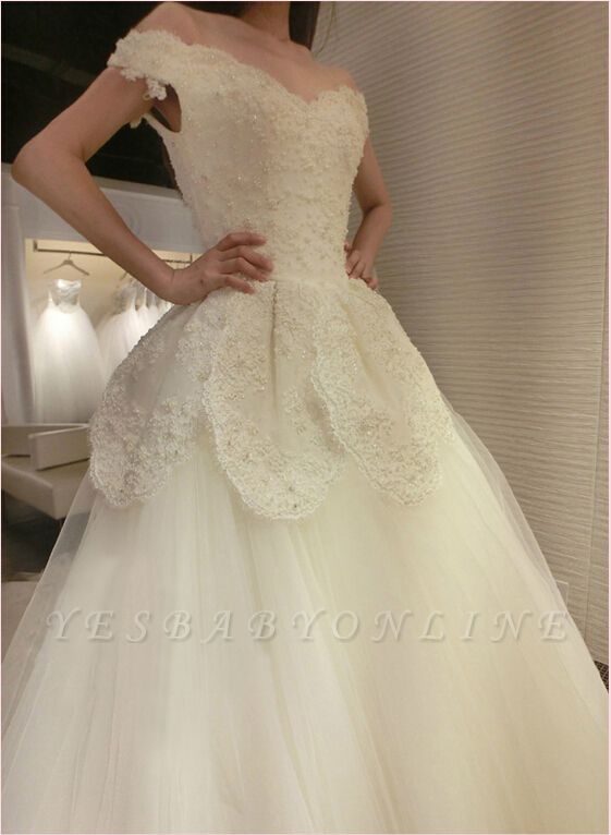 Tulle Modern Beaded Long-Train Lace-Appliques Off-the-shoulder Wedding Dress