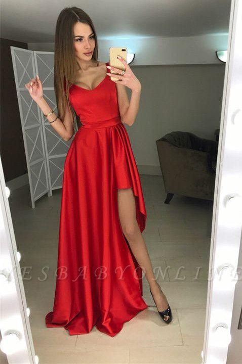 Modern Scoop Hi-Lo Sleeveless Red A-line Prom Dress