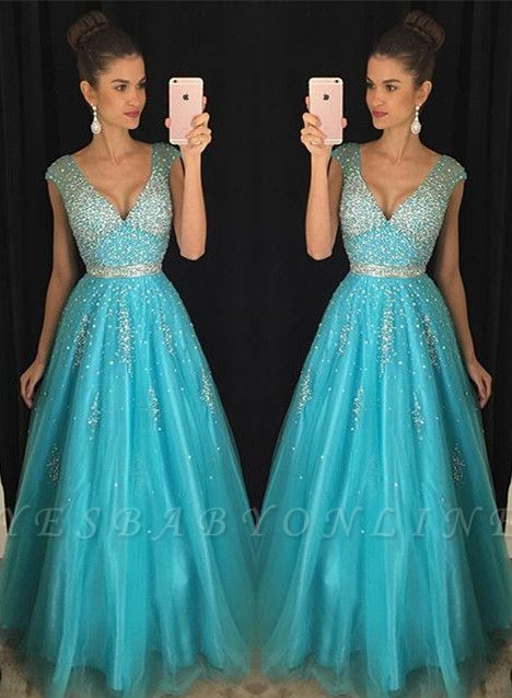 Fashion Crystal V-Neck Mesh  Blue Prom Dress