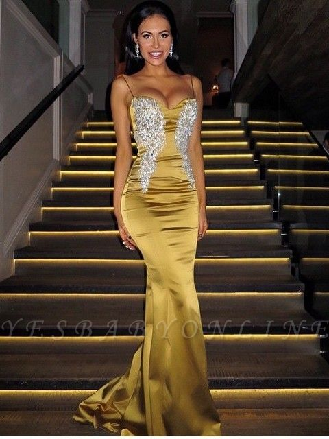 Applique Mermaid Sweetheart Spaghetti-Straps Sexy Long Prom Dresses