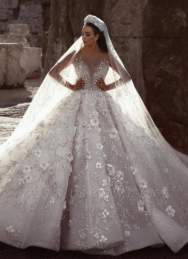 Glittery Floral Bridal Gowns  | See Through Neck Long Sleeves Ball Gown Wedding Dresses