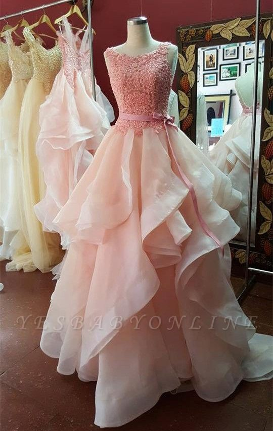 Organza Pearl-Pink Tiered Hot A-Line Open-Back Lace Prom Dresses