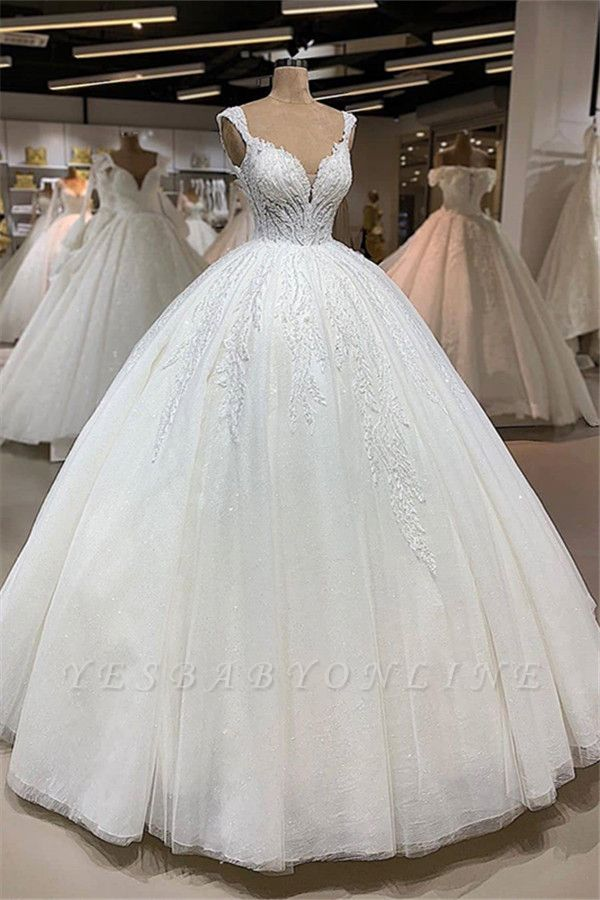 Straps Sweetheart Princess Vintage Wedding Dresses with Lace Details