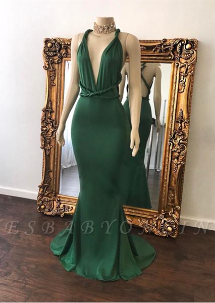 Sexy Green Prom Dresses Halter V-Neck Crisscross Back Mermaid Evening Gowns