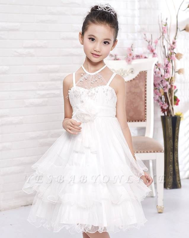 Cute A line Tulle Halter Layered Knee length Flower Girl Dress