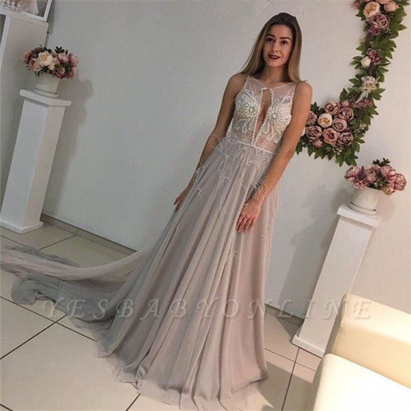 A-Line Crystal Sleeveless Court-Train Elegant Prom Dress