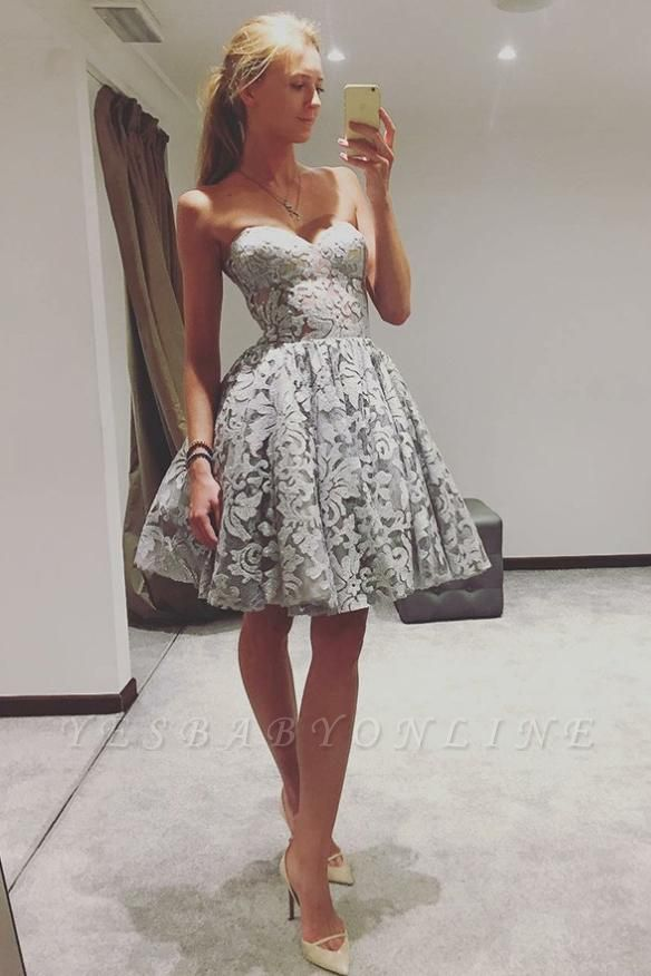 Elegant Sweetheart Homecoming Dresses | A-Line Sleeveless Cocktail Dresses