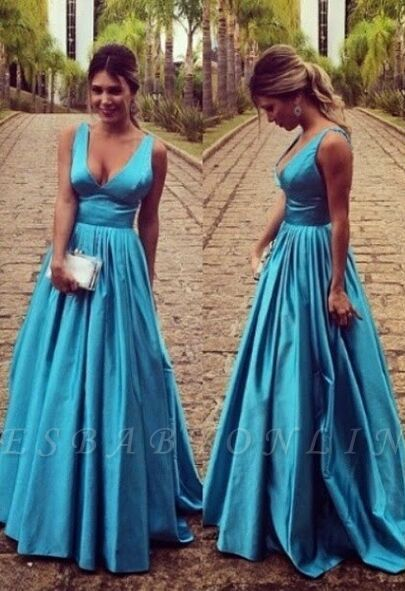 Sleeveless Zipper Modest Straps Long A-line Prom Dress