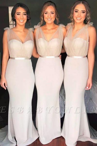 Mermaid Tulle Bridesmaid Dresses,Floor Length Bridesmaid Dress with Belt