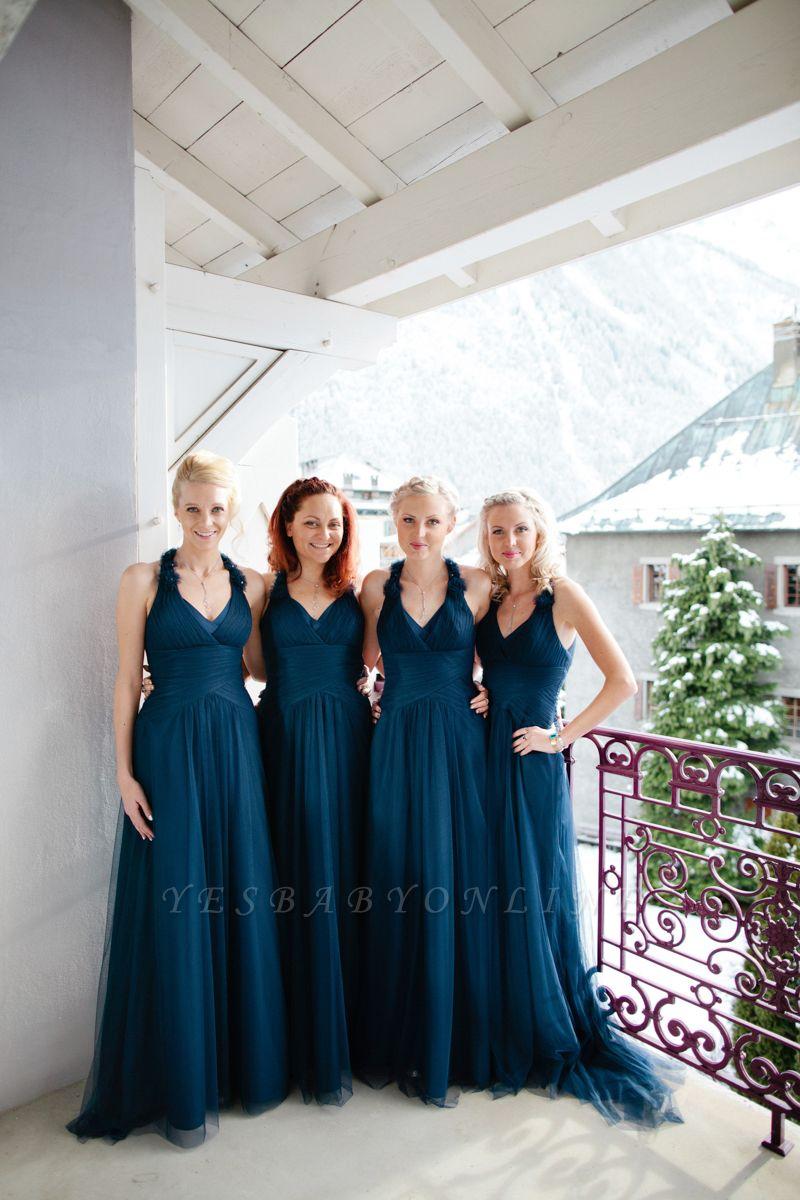 Halter Simple Elegant Floor-length Navy A-line Bridesmaid Dress