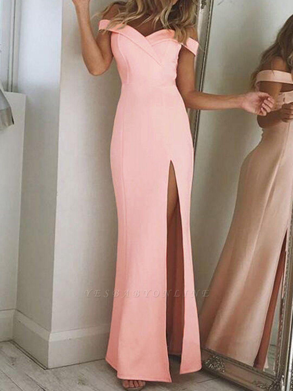 Long Elegant Side-Slit Sheath Off-The-Shoulder Prom Dresses