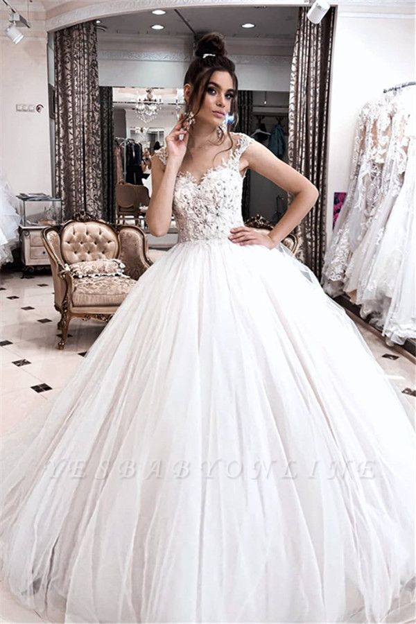 Straps Sweetheart Beaded Floor Length Ball Gown Wedding Dresses