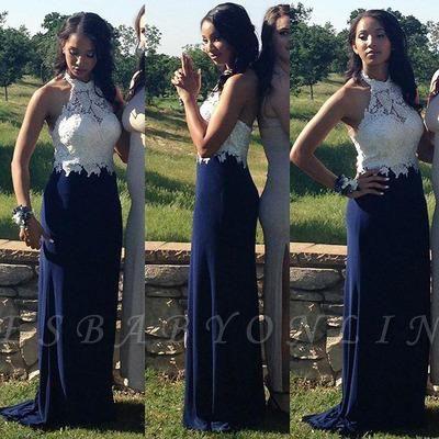 Sheath Navy-Blue Halter-Neck Lace Appliques-Top Gorgeous Prom Dresses