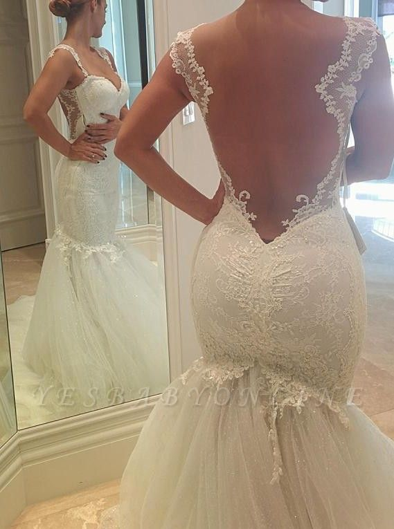 Sexy  Lace Mermaid Wedding Dresses | Tulle Open Back Spagheeti Strapless Bridal Gowns