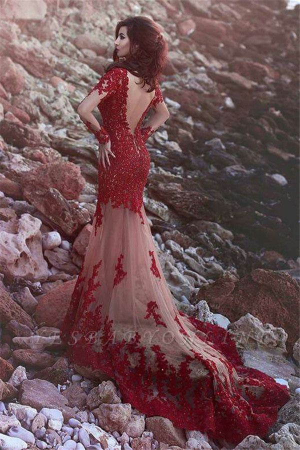 Red Long Sleeves Prom Dresses Lace Appliques Beading Mermaid Evening Gowns