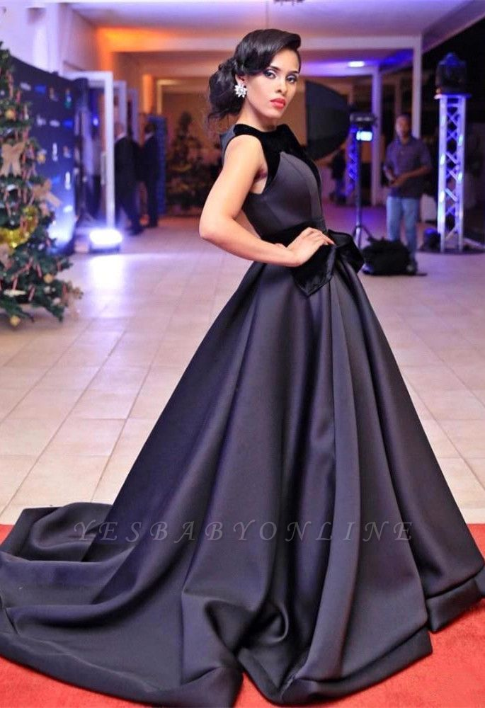 Sweep-Train Glamorous Sleeveless Black Evening Dress