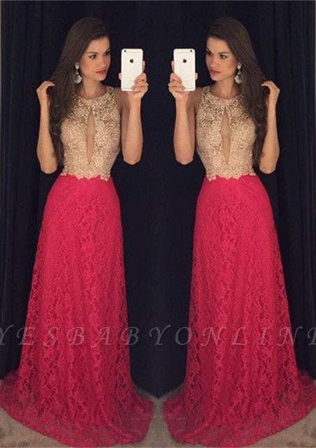 2019 Keyhole Neck Lace Prom Dresses Sleeveless A-line Evening Gowns