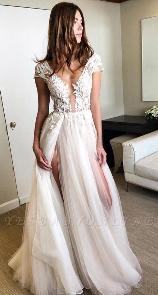 Short-Sleeves Side-Slit A-line Lace-Applique Tulle Exquisite Scoop Wedding Dresses