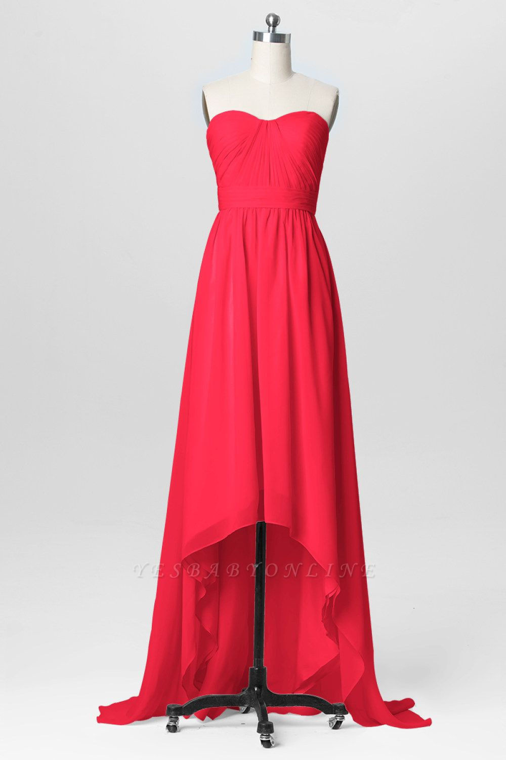 A Line Chiffon Hi-Lo Sweetheart Strapless Bridesmaid Dresses with Ruffles