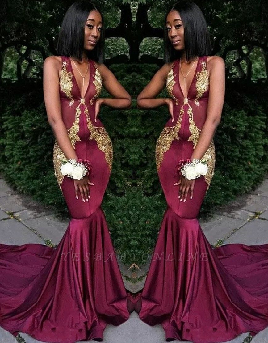 Sexy V-Neck Sleeveless Evening Dresses |  Mermaid Lace Appliques Long Prom Dresses