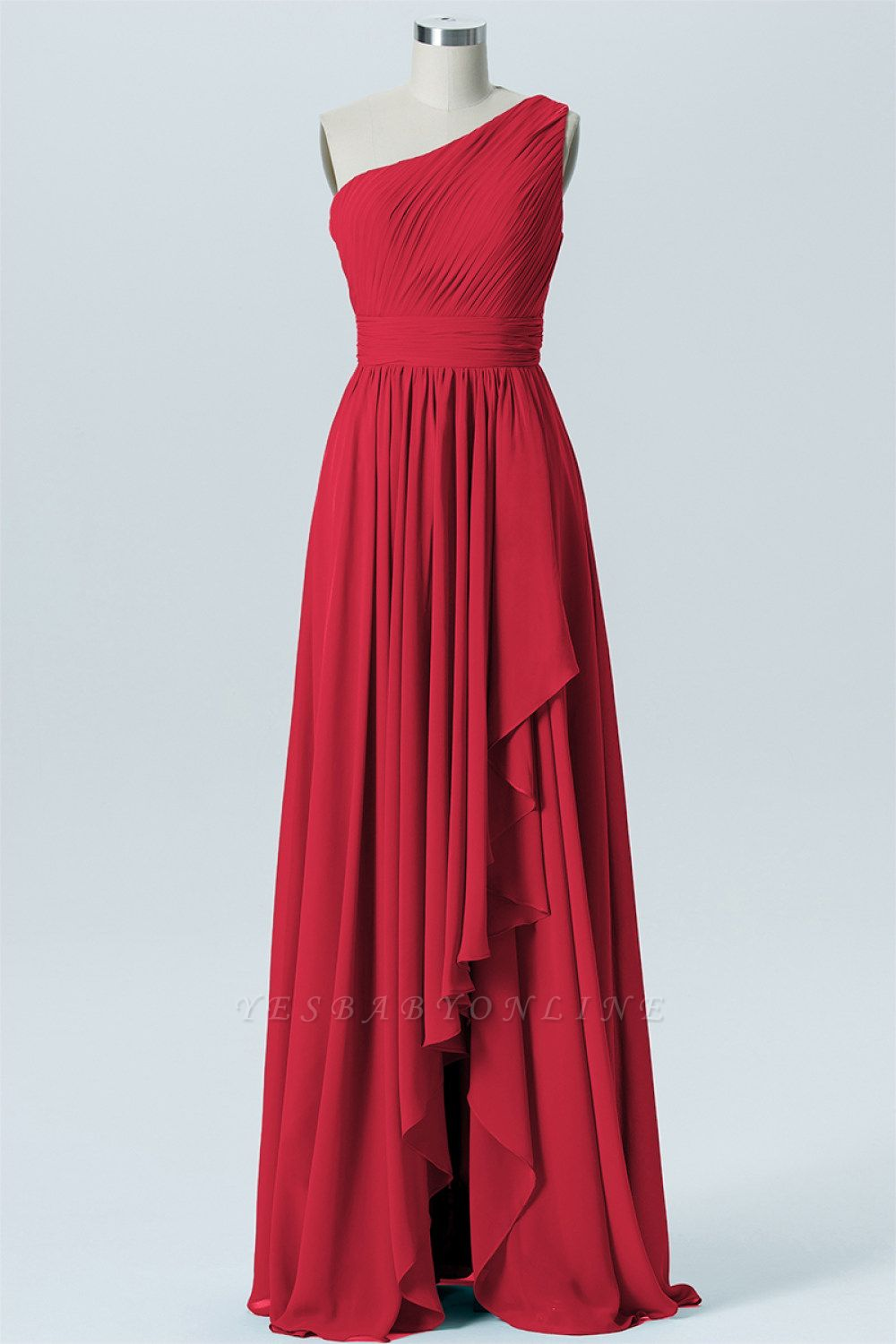 A Line Chiffon Hi-Lo One Shoulder Bridesmaid Dresses with Ruffles
