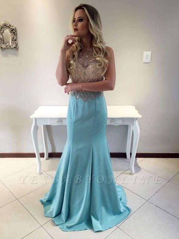 Crystals Mermaid Stunning Long Sleeveless Prom Dress