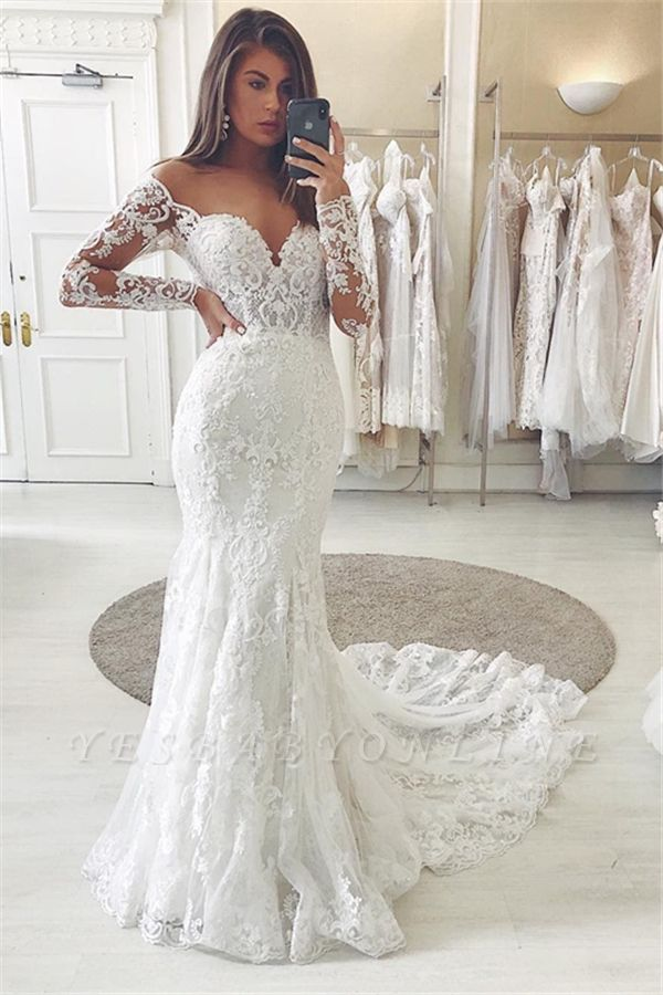 Jewel Long Sleeve Applique Lace Mermaid Wedding Dresses | Beaded Bridal Gown