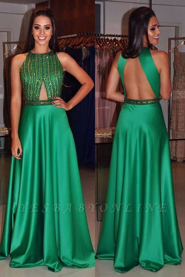 2019 Green Prom Dresses Sleeveless Beading A-line Long Evening Gowns