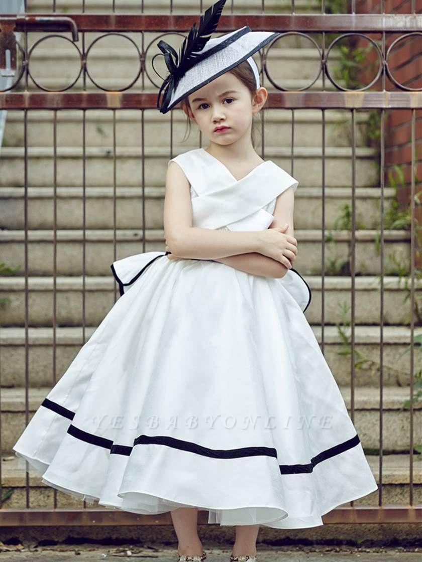 Cute V-Neck Zipper-Up Bowknot Tea-Length Flower Girl Dress