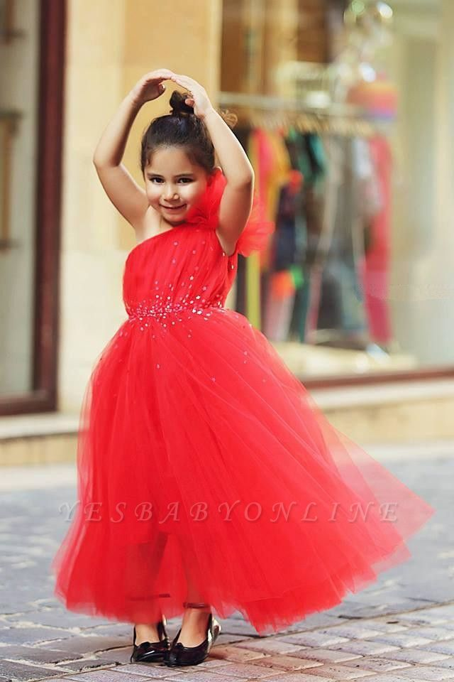 Sweet Red One Shoulder Tulle Long Flower Girl Dress | Affordable Crystal Floor Length Dresses for Girls